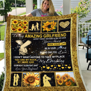 To My Amazing Girlfriend I Don't Want Anyone To Take My Place Boyfriend And Girlfriend Sunflower Hippie Sherpa Blanket - ATMTEE
