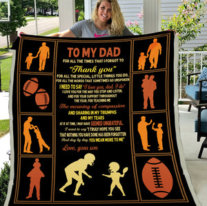 To My Dad For All The Times I Forgot To Thank You Football Dad And Son Sherpa Blanket - ATMTEE