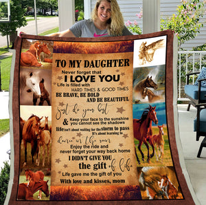 To My Daughter Never Forget That I Love You Horse Sherpa Blanket - ATMTEE