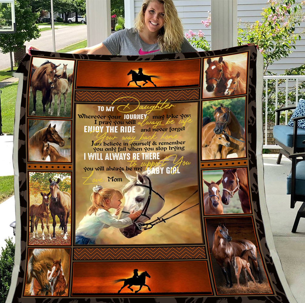 To My Daughter Wherever Your Journey May Take You Girl Riding Horse Sherpa Blanket - ATMTEE