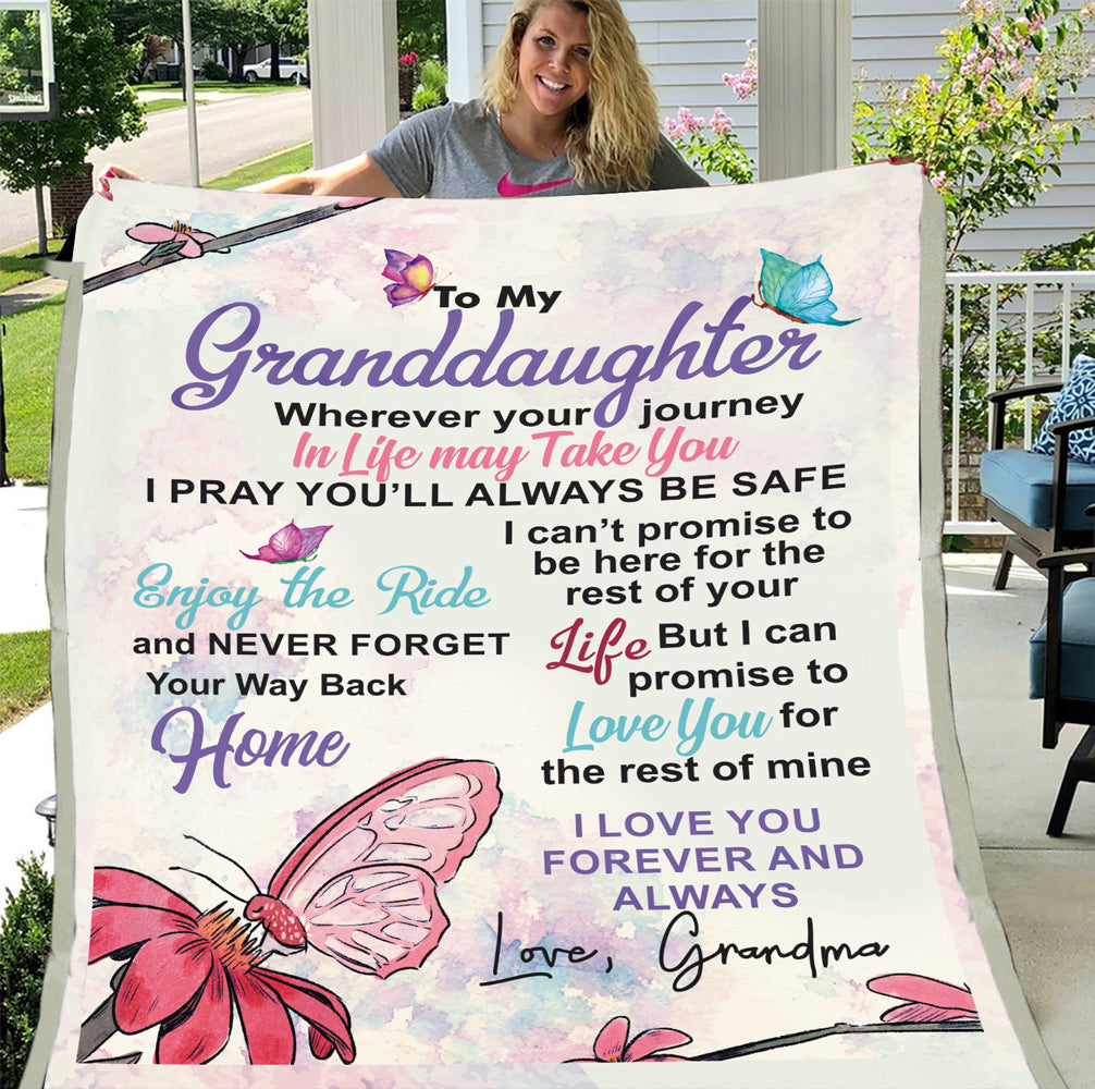 Personalized Blanket To My Granddaughter I Pray You'll Alway Be Safe, Love Grandma Fleece Blanket - ATMTEE