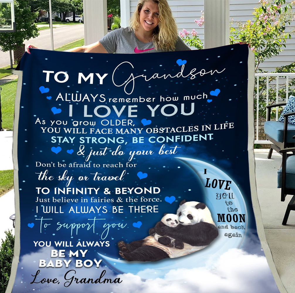 Personalized Blanket To My Grandson Always Remember How Much I Love You As You Grow Older, Gift For Grandson Fleece Blanket - ATMTEE