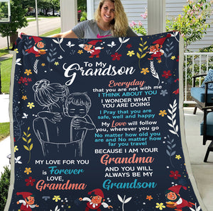 Personalized Blanket To My Grandson Everyday That You Are Not With Me I Think About You Fleece Blanket - ATMTEE