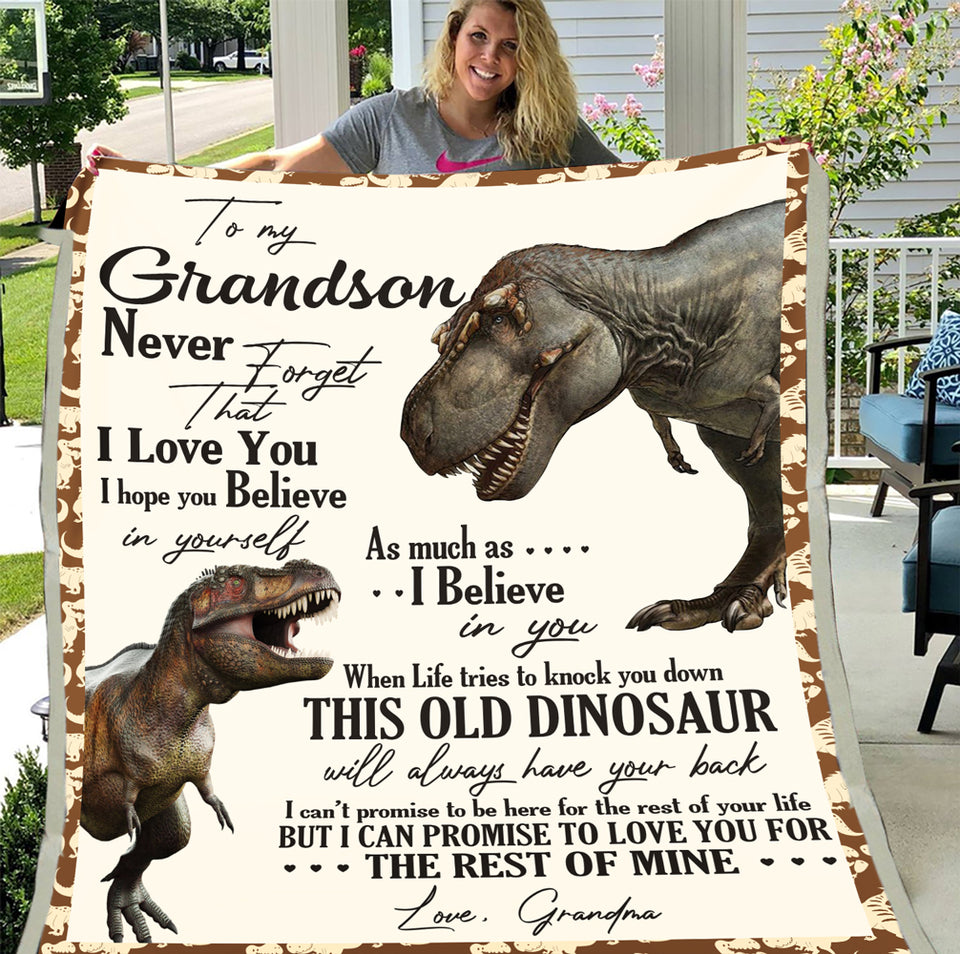 To My Grandson Never Forget That I Love You Dinosaur Blanket Fleece Blanket - ATMTEE