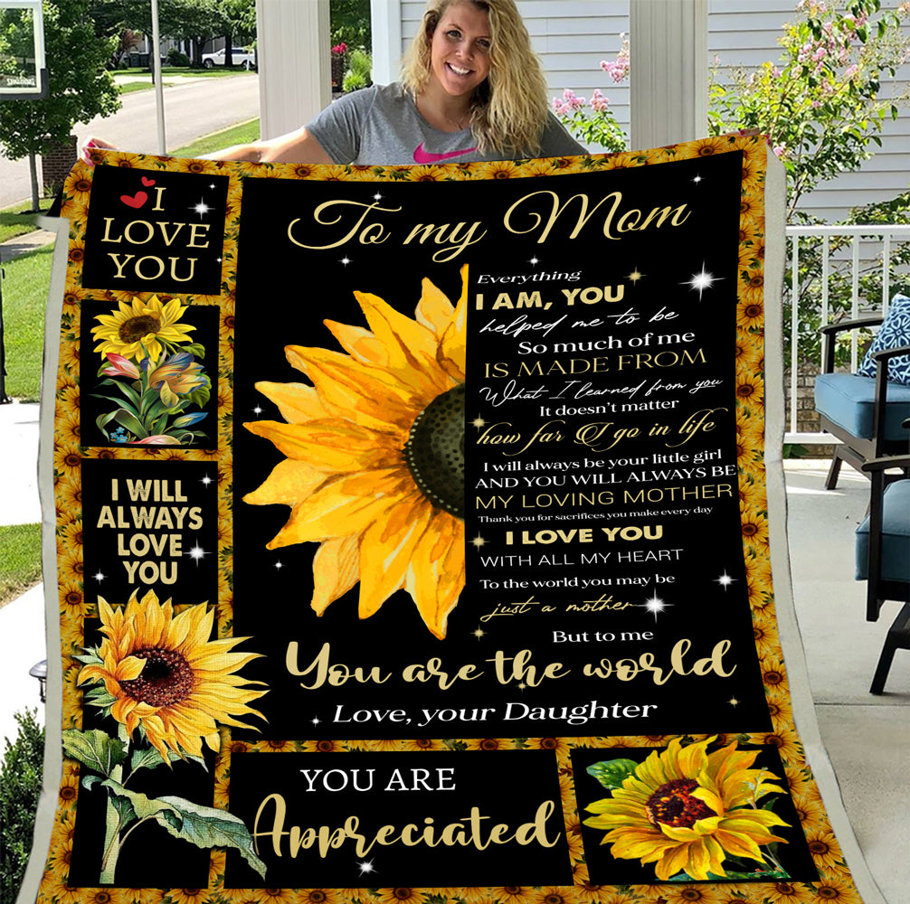 Personalized Blanket To My Mom You Are The World, Gift For Mom Fleece Blanket - ATMTEE