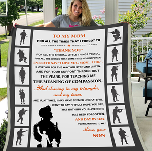 Veterans Mom Blanket - To My Mom For All The Times That I Forgot To Thank You From Son, Gift For Mom Fleece Blanket - ATMTEE