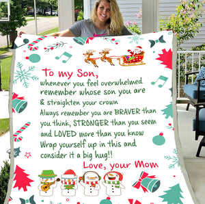Personalized To My Son Wrap Yourself Up In This And Consider It A Big Hug Cute Snowman Christmas Blanket Sherpa Blanket - ATMTEE