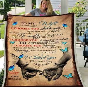 Husband To Wife I Choose You Again & Again At The Start And Finish Butterfly Sherpa Blanket - ATMTEE