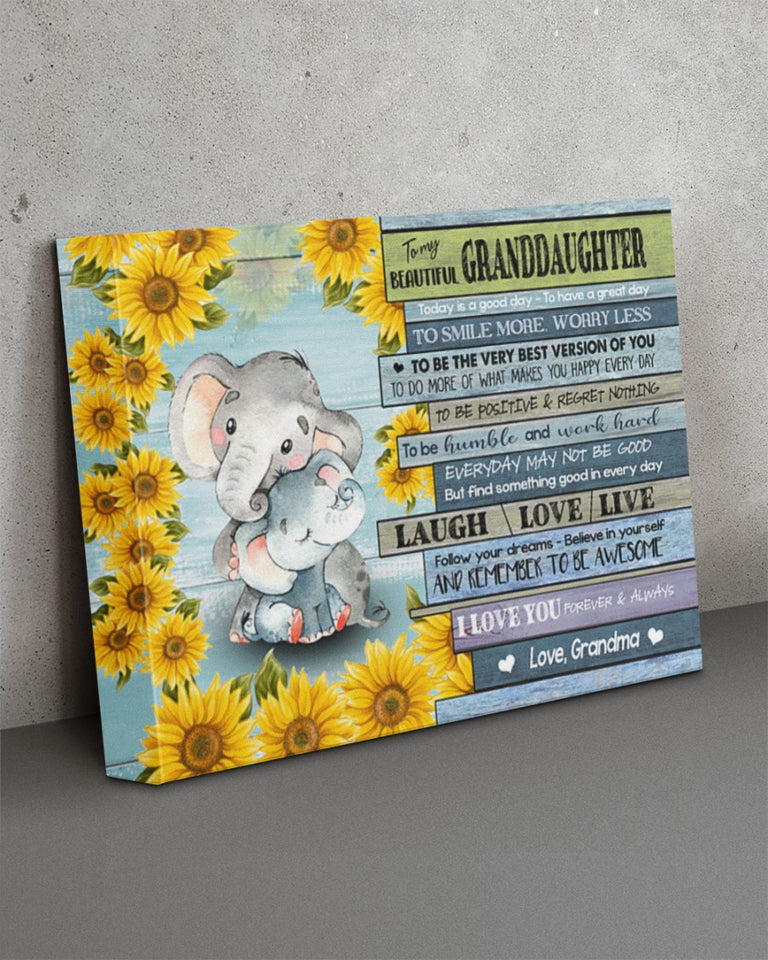 To My Beautiful Granddaughter Today Is Good Day To Have A Great Day To Smile Elephant Canvas - ATMTEE