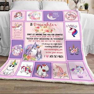 To My Daughter Don't Let Anyone Take You For Granted Unicorn Sherpa Blanket - ATMTEE