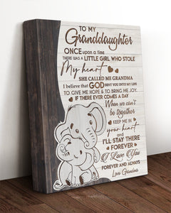 To My Granddaughter Once Upon A Time There Was A Little Girl Elephant Canvas - ATMTEE