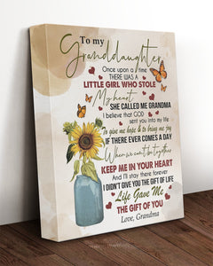 Personalized To My Granddaughter Canvas, Once Upon A Time There Was A Little Girl Flowers And Butterfly Canvas - ATMTEE