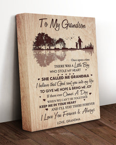 Grandson Canvas, Grandson Wall Art, Gift Ideas For Grandson, To My Grandson Keep Me In Your Heart Canvas - ATMTEE