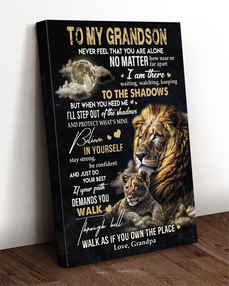 Grandson Canvas To My Grandson Never Feel That You Are Alone No Matter How Near Or Far Apart Lion Canvas - ATMTEE