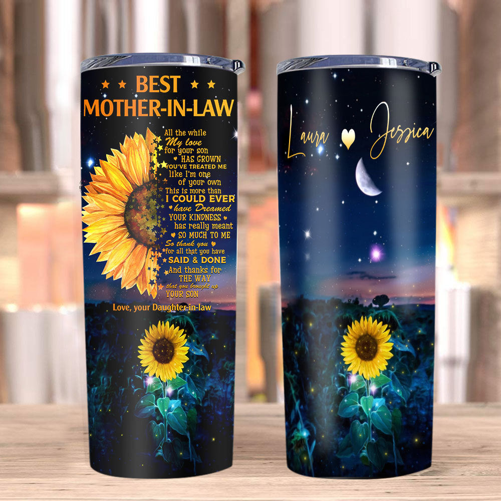 Personalized Tumbler, Best Mother-in-law, Mother's Day Gifts, Gift From Daughter-in-law, Sunflower Tumbler - ATMTEE