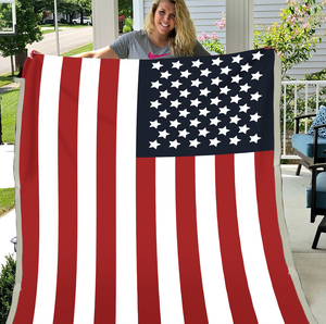 US Flag Blanket, Patriotic Flag Fleece Blanket - ATMTEE