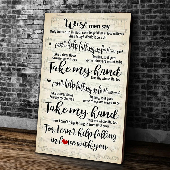 Take My Hand For I Can't Help Falling In Love With You Matte Canvas - ATMTEE