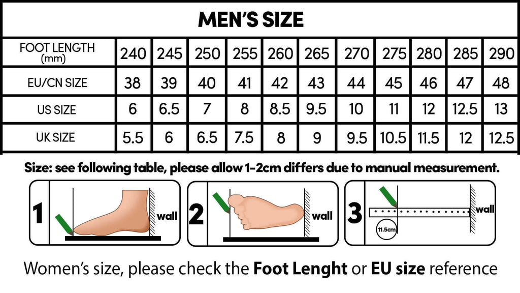 Indestructible Shoes Size Chart