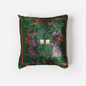Whiskey + Rocks Holiday Crushed Velvet Pillow Cover