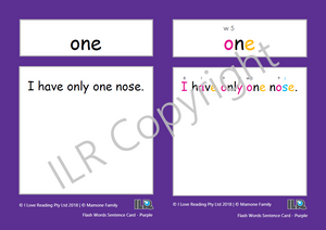 ILR Flash Word Sentence Cards Set 1