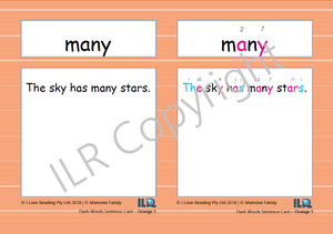 ILR Flash Word Sentence Cards Set 2