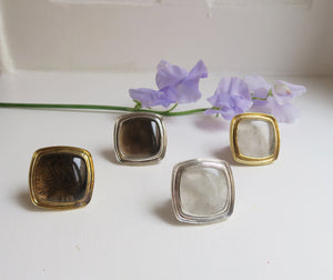 SQUARE - BROWN SILVER RING.