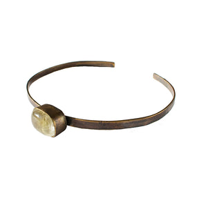 ON A LEASH CHOKER. (BROWN BRASS)
