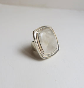 SQUARE - WHITE SILVER RING.