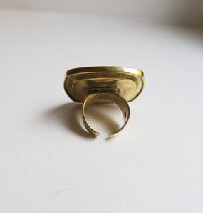 SQUARE - BROWN BRASS RING.