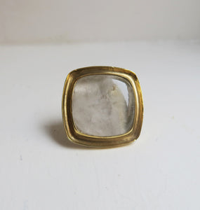 SQUARE - WHITE BRASS RING.