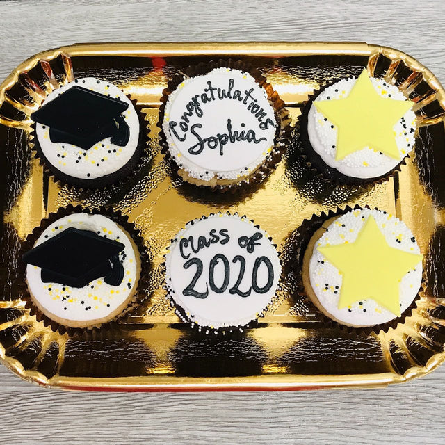 6 custom Graduation cupcakes (pickup only)