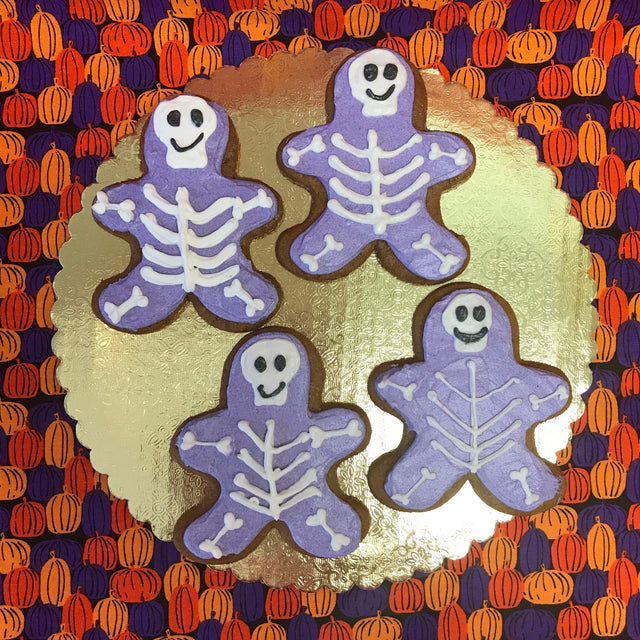 Four Halloween Skeleton Gingerbread Cookies (pickup only)
