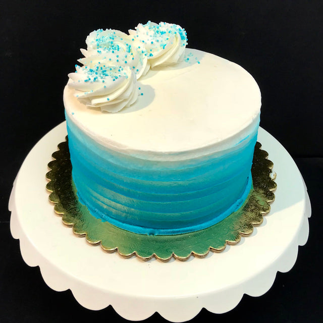 Teal Ombre Cake (With Swirls)