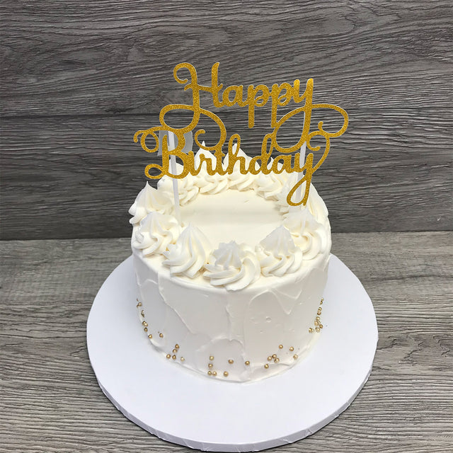 Gold Happy Birthday cake