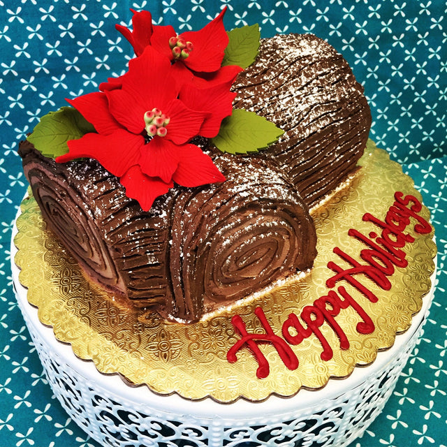 Yule Log with poinsettia (pickup only)