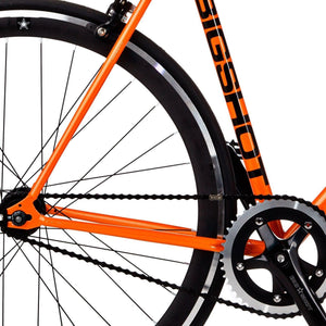 Big Shot Bikes city commuter Custom Fixed Gear Bicycle fixie in orange for urban commuting