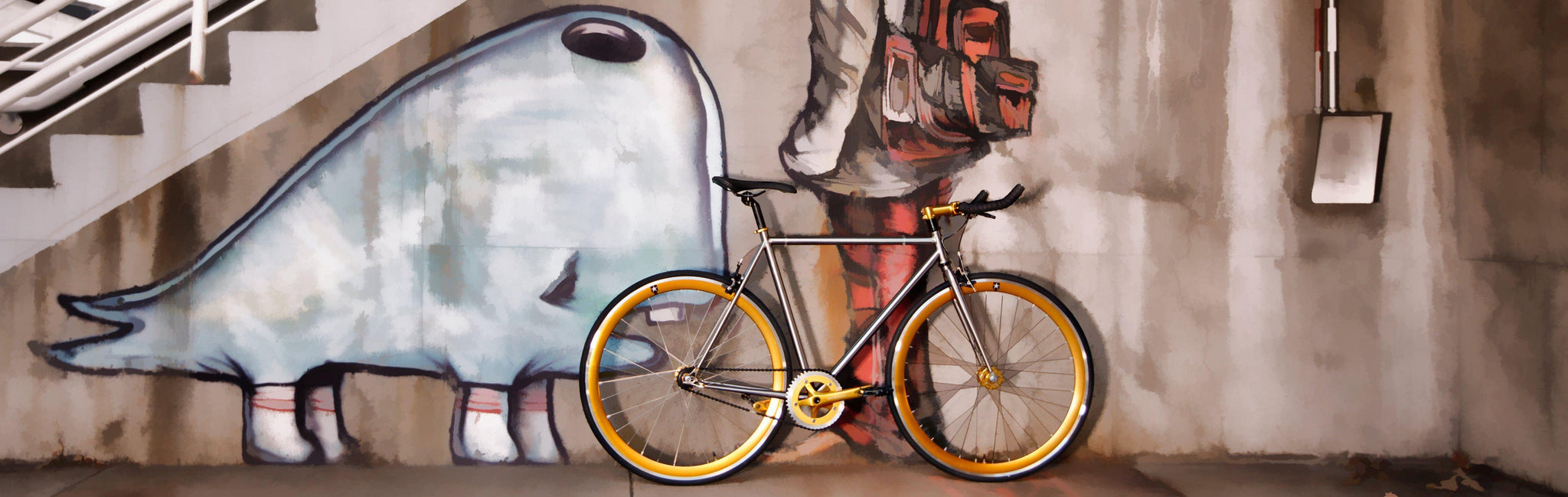 Premium - Streaker Premium - Blackout ™ Big Shot Bikes city commuter Custom Fixed Gear Bicycle black  frame or urban commuting