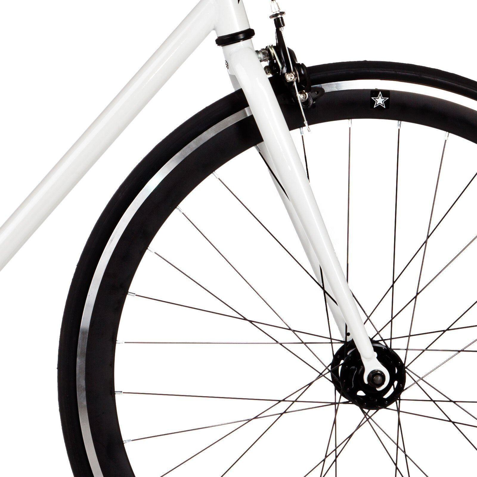 Big Shot Bikes city commuter Custom Fixed Gear Bicycle fixie in white for urban commuting