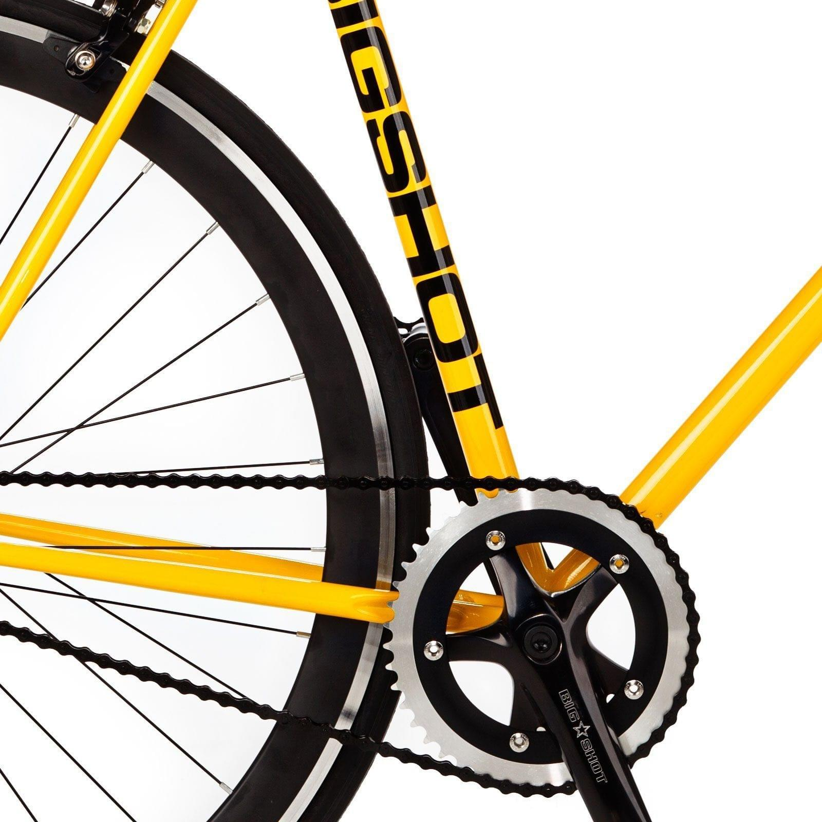 Big Shot Bikes city commuter Custom Fixed Gear Bicycle fixie in yellow or urban commuting