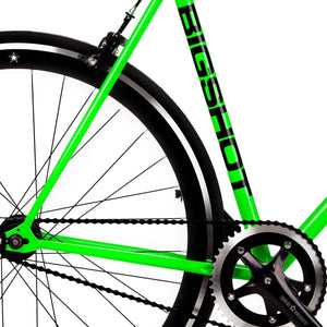 Big Shot Bikes city commuter Custom Fixed Gear Bicycle fixie lime green frame or urban commuting