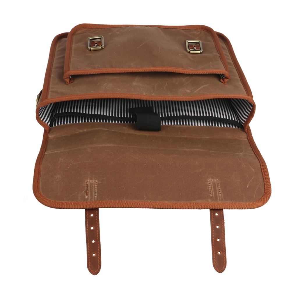 Tourbon Vintage Bicycle Bike Rear Seat Pannier Bag Backpack Canvas Handle Briefcase Laptop Bag for City Tote Cycling Commuting