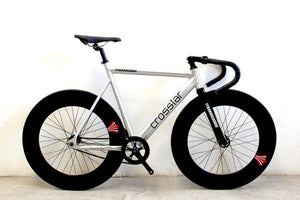 Find a fixed gear urban track bike frame with carbon fiber fork and 90mm rims. The ultimate fixed gear bike. Big  Shot Bikes since 2008.