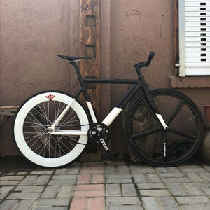 Big Shot Bikes - Track Bike for Fixed Gear Bike. Black and White Fixed gear bike. Single speed bike.