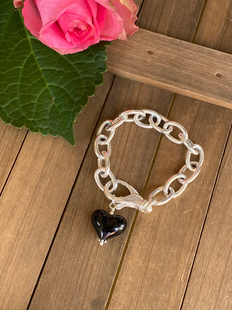 Sterling Silver Chain Bracelet with Black Heart