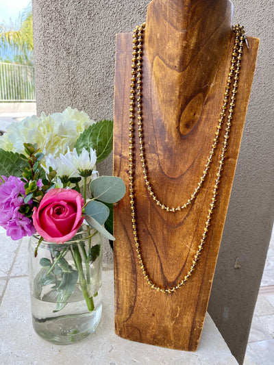 Bronze Beaded Double Layered Necklace