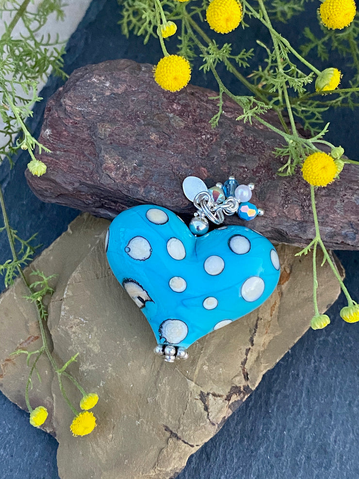 Blue & White Polka Dot Heart