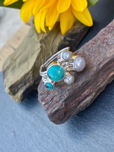 Turquoise & Pearl Stacking Ring