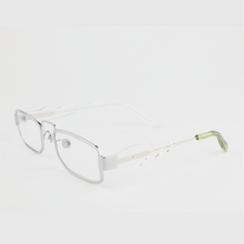 Load image into Gallery viewer, silver colour titanium rectangle optical frame with lime acetate temples tip 45 angled