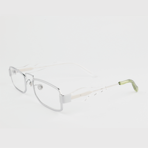 silver colour titanium rectangle optical frame with lime acetate temples tip 45 angled