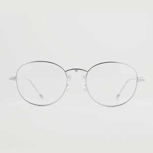 silver colour titanium round optical frame with clear acetate temples front